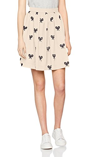Pepaloves Rackets Skirt Cream, Jupe Décontractée Femme Beige