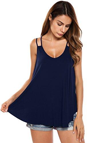Trudge Damen Sommer Spaghetti Tops Strandkleid Trägerkleid Shirt Bluse Oberteile, Farbe: Marineblau, Gr. S (Herstellergröße: S)