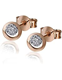 Goldmaid Damen-Ohrstecker 585 Rosegold 14 Diamanten 0,06 ct. Diamant-Ohrring Brillianten Rotgold