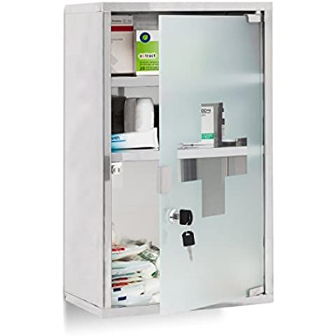 Relaxdays 10019093 - Botiquín de emergencia XL, acero inoxidable y vidrio, con 3 compartimentos, puerta de vidrio con 2 llaves, color
