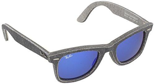 RAYBAN Unisex Sonnenbrille Original Wayfarer, Mehrfarbig (Gestell: Schwarz/Grau, Gläser: Verspiegelt 119268), Medium (Herstellergröße: 50)