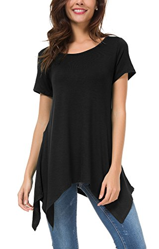 Baumwolle Schwarzen Kurzen Ärmel T-shirt (Damen Kurz Ärmel Lose Langshirt T-Shirt sidetale Tunika Tops Bluse (XL, Schwarz))