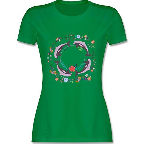 Vintage - Vintage Delfine Blumen Dolphin Flowers - tailliertes Premium T-Shirt mit Rundhalsausschnitt für Damen Grün