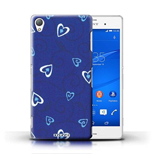 Kobalt® Imprimé Etui / Coque pour Sony Xperia Z3 / Turquoise/Bleu conception / Série Coeur Vigne Motif Bleu/Turquoise