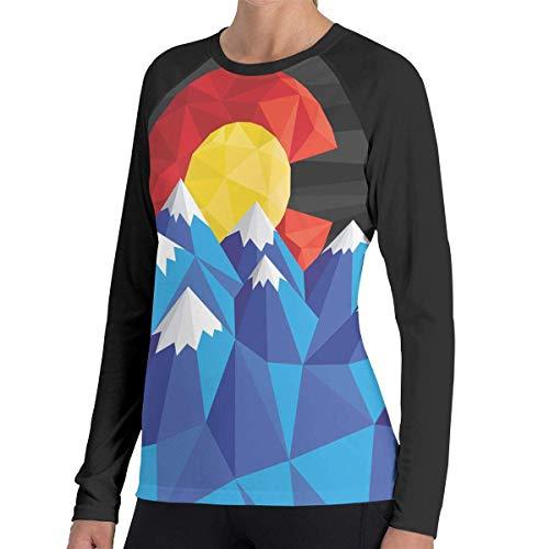 Herren Langarm Classic T-Shirt, Women's Casual Colorado Flag Long Reglan Jersey Baseball T-Shirt -