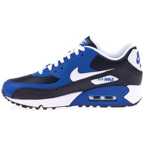 Nike Air Max 90 Gs 307793 Unisex-Kinder Low-Top Sneaker Schwarz / Weiß / Blau (Schwarz / Weiß-Hyper Blau-Weiß)