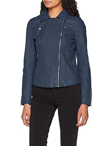 ONLY Damen Jacke onlSAGA Faux Leather Biker CC OTW, Blau Insignia Blue, 34 - 4