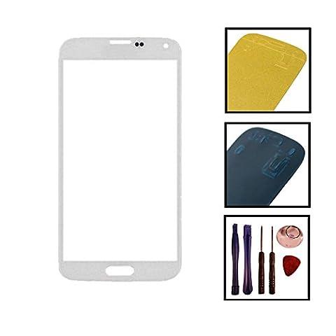 Inobit Datensysteme Touchscreen Front Glas Display mit Kleber und Werkzeug für Samsung Galaxy S5 SM-G900F I9600 (I9605), weiß