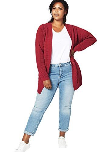 Zizzi MCUBA Damen Strickjacke Cardigan Casual Langarm Offenem V-Ausschnitt, Große Größen 42-56