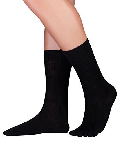 Knitido Dr. Foot® Silver Protect, antimikrobielle wadenlange Zehensocken mit Silberfaser, Größe:43-46, Farbe:Schwarz