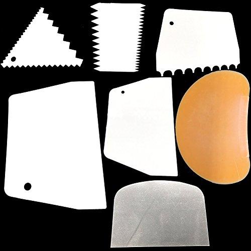 Kuchen Schaber, glatter Kamm Set Kuchen Edge Side Dekorieren Tools Scraper - 6pcs Cake Scraper+1pcs Flexible