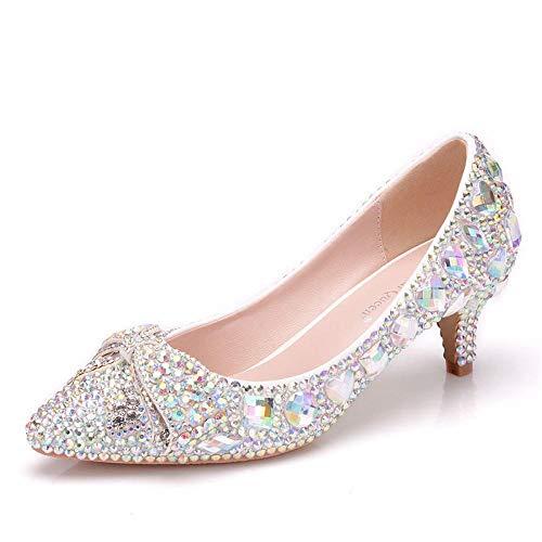 Dsyrh scarpe tacco basso con strass colorati 5cm scarpe da sposa con tacco basso fiocco, 37, 5 cm
