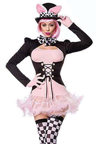 Noir Rose Robe Rose déguisement lapin en Gants, noeud papillon, queue de pie, bas et chapeau avec jupon et lacets - multicolore - 42