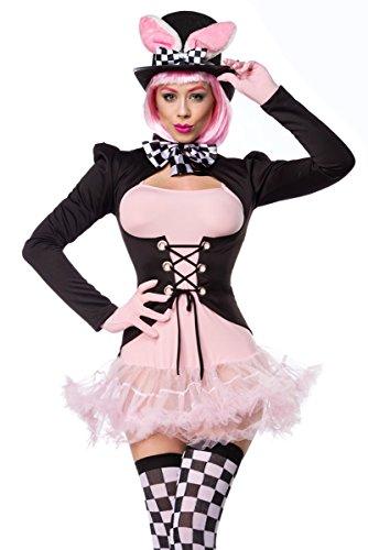 Unbekannt Schwarz rosa Damen rosa Hase Kostüm aus Kleid Handschuhe, Fliege, Frack, Strümpfe und Hut mit Petticoat und Schnürung M dunkel