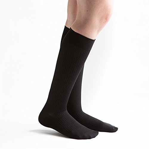 VenActive Damen Gerippter Hosen-15-20mmHg Kompression Socken, Schwarz, Medium -