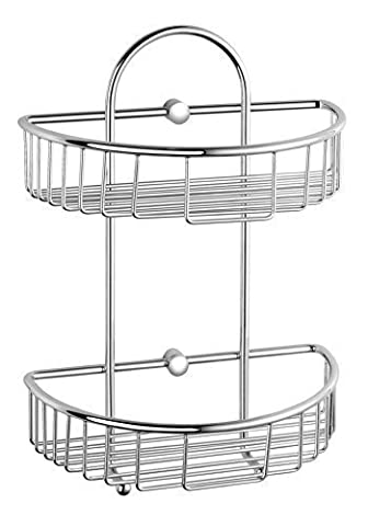Luxxur ™ C020 Superior Chrome On Brass Double Wall Mounted Shower Caddy Basket - totally rustproof - Bathroom and Shower
