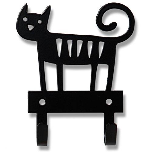 Bengt & Lotta Cat schwarz Hakenleiste mit 2 Haken 10x11,2 cm, Stahl (Teppiche 8 X 10 Abstand)