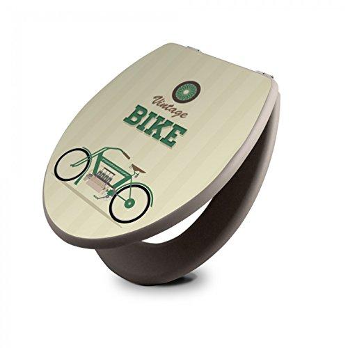 banjado Design Toilettensitz in Taupe | WC-Sitz Holz MDF 42,3x3,5x37,5cm | Klodeckel mit Edelstahl Scharnieren | Toilettendeckel mit Motiv Vintage Bike -