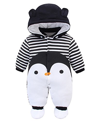 Minetom Otoño Invierno Bebé Niños Niñas Infantil Buzos Equipar Recién Nacido Espesar Mameluco Monos Caricatura Trajes Pingüino 3-4 Meses (56)