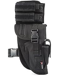 YAKEDA Universal Tactical pierna pistolera con bolsa de revista totalmente ajustable y desmontable-KF-070 (Black)