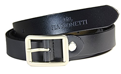 Monetti fia cintura pelle con fibbia classica in elegante color nero, larghezza 2,3 cm - lunghezza 115 cm (accorciabile).