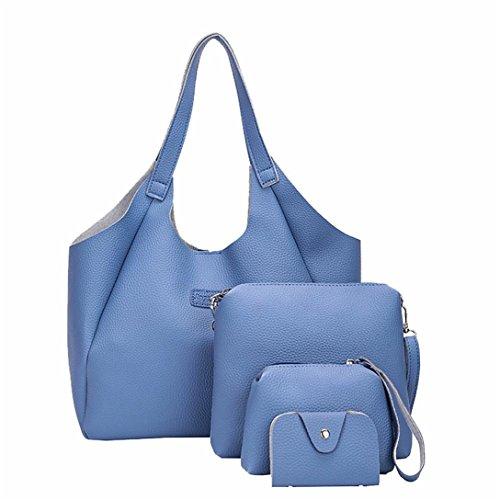 4 Set Borse Donna,Kword Borsa Donna Elegante Donne 4 Pezzi Di Borsa, Borse A Tracolla, Tote Bag, Crossbody Portafoglio Blu