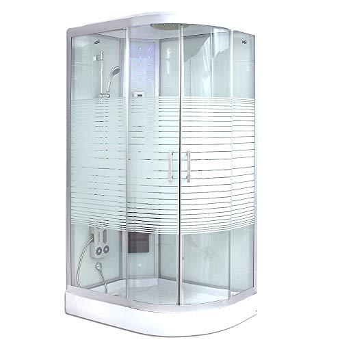 Home Deluxe - Dampfdusche - White Pearl rechts - Maße: 120 x 80 x 220 cm - inkl. komplettem Zubehör