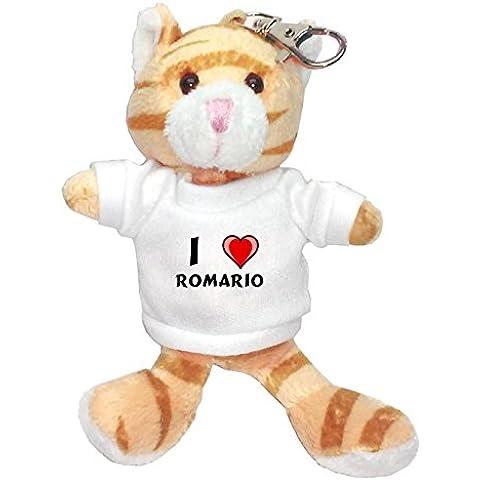 Gato marrón de peluche (llavero) con Amo Romario en la camiseta (nombre de pila/apellido/apodo)