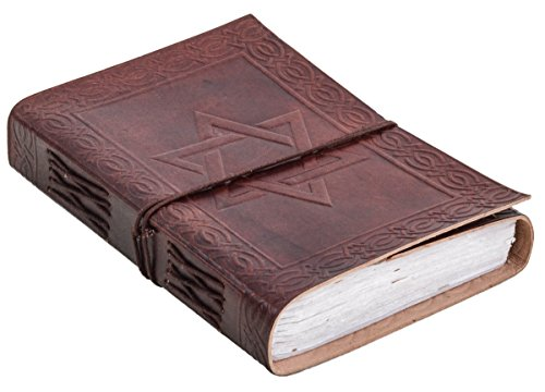 """Notizbuch Gusti Leder \""""Stella\"""" DIN B6 Lederbuch Notizblock Buch Tagebuch Skizzenbuch Lederaccessoire Fotobuch Reisetagebuch Rezeptbuch Motiv Davidstern Braun P61"""