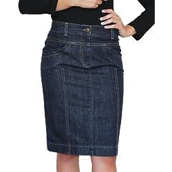 Tiempo libre para mujer Rock drosselung Boutique largo hasta la rodilla azul vaquero talla 36 38 40 42 44 46 48 50