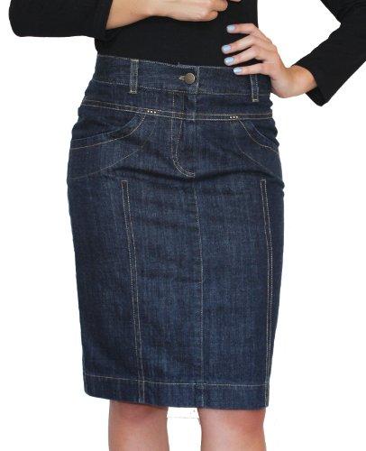Damen Freizeit Rock Bleistift Boutique Knielang Blau Denim Jeans Größe EU 36 38 40 42 44 46 48 50 (44) (Bleistift Denim-bleistift-rock)