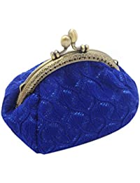 Blue : Culater® Women Lady Retro Vintage Small Wallet Hasp Purse Clutch Bag (Blue)