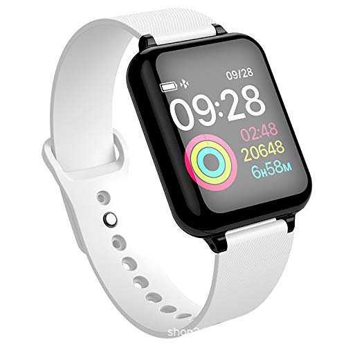 FUYY Reloj Inteligente Polar Pulsera Inteligente Rastreador De Actividad Podómetro Bluetooth Monitor De Ritmo Cardíaco Rastreador Android iOS Dispositivo Inteligente contra Pérdida,White