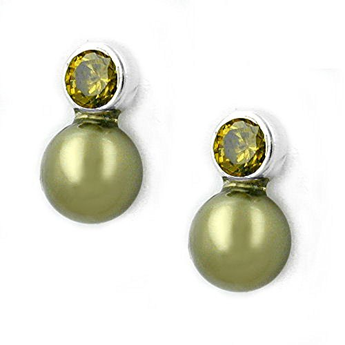 Stecker Zirkonia-oliv Perle Imitat 925 Sterling Silber 91085
