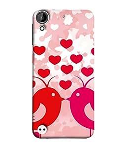 PrintVisa Designer Back Case Cover for HTC Desire 530 (Wall Decoration Relationship Love Birds Postcard Design Celebrated Decorative Beautiful Happiness)