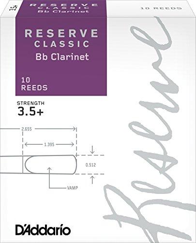D'Addario Reserve Classic - Ance per clarinetto in Sib, durezza 3.5+; confezione da 10