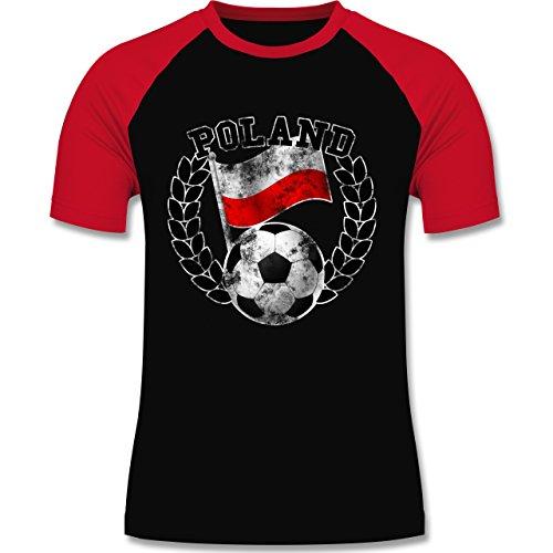 EM 2016 - Frankreich - Poland Flagge & Fußball Vintage - zweifarbiges Baseballshirt für Männer Schwarz/Rot