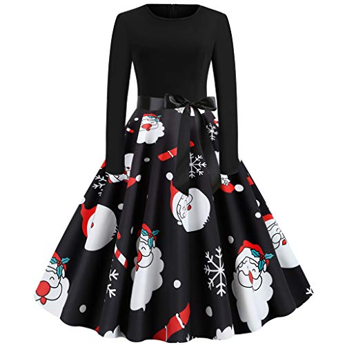 IFOUNDYOU Damen Vintage 50Er Cap Sleeves Rockabilly Retro Kleider Hepburn Stil Partykleid