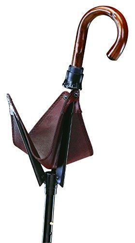 Bastone da passeggio Seggiolino Pieghevole Leatherman con un manico in vera legno di castagno, Bastone in metallo leggero anodizzato, regolabile in altezza, seduta in Sattler Pelle Bovina inglese.