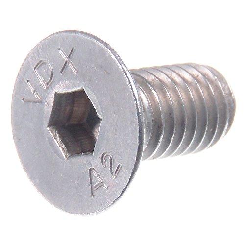 Vis à tête fraisée SECCARO M5 x 10 mm, acier inoxydable V2A VA A2, DIN 7991 / ISO 10642, à six pans creux, 20 pièces