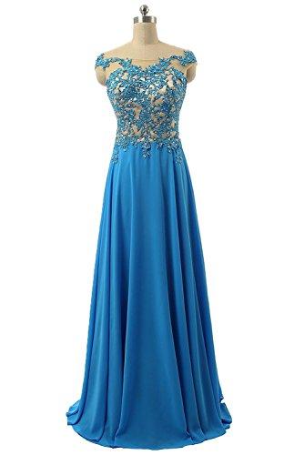 Royaldress Rosa spitze Aermellos Abendkleider Partykleider A-linie Prinzess Promkleider Festlichkleider Neuheit Blau
