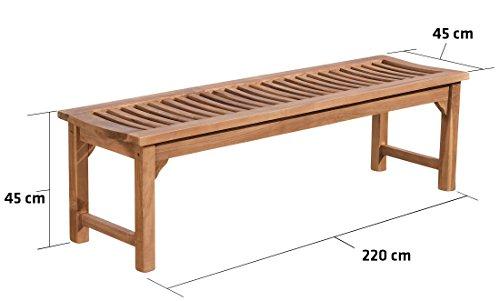 Gartenbank CP452, Holzbank 220cm ~ Teak