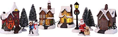 Bambelaa! Weihnachtsstadt 11 tlg. Winterdorf Weihnachtsdorf Weihnachtsszene Weihnachten 5 LED Beleuchtet Warmweiß Innen