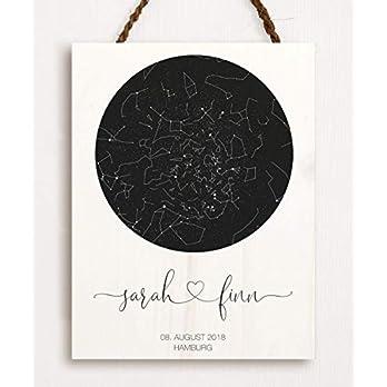 Dein Sternenhimmel – personalisiert hochwertig gedruckt auf Holz das perfekte Geschenk zur Hochzeit zum Jahrestag zur Taufe oder Geburt