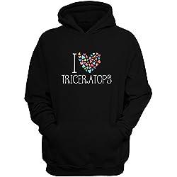 Idakoos I love Triceratops colorful hearts - Dinosaurios - Sudadera con capucha