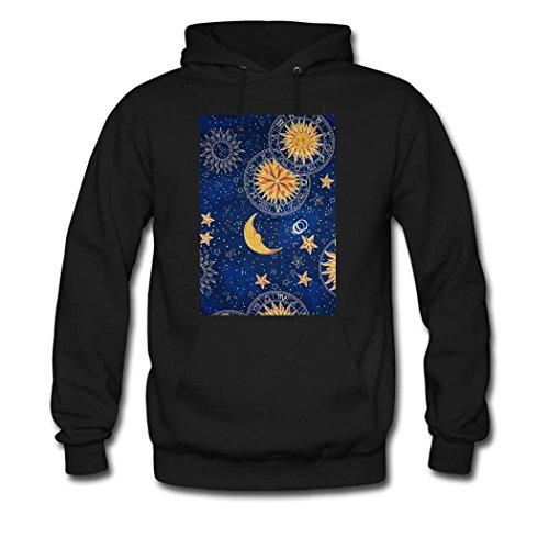 weileDIY Moon and Sun DIY Custom Women's Printed Hoodie Sweatshirt Black_B