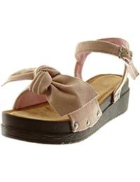 Angkorly - Zapatillas Moda Sandalias Mules Plataforma Correa de Tobillo Mujer Nodo Tachonado Madera Plataforma...