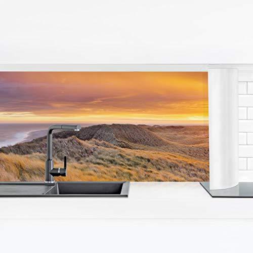 Bilderwelten Küchenrückwand Panorama - Sonnenaufgang am Strand auf Sylt Premium 60 x 210 cm