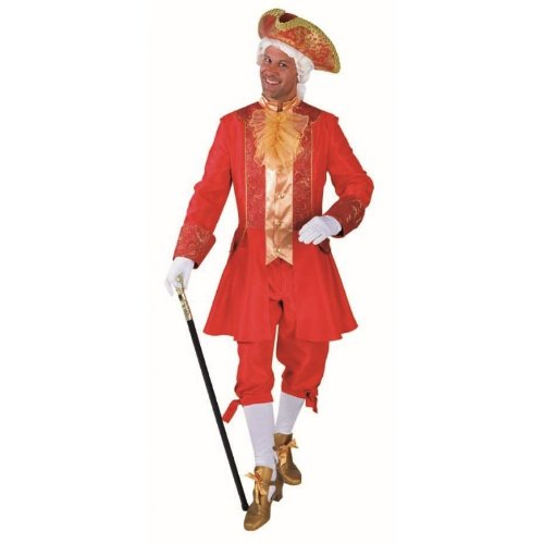 Edel verziertes Baroquekostüm für Herren in rot - -