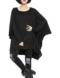 ELLAZHU Femme Sweatshirt Casual Asymétrique Aile De Chauve-souris Solide Taille Unique GY690